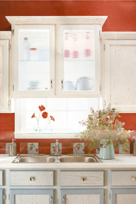 The Old House In Texas Glass Backed Kitchen Cabinets
