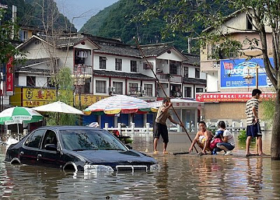 inondation yangshuo sud Chine