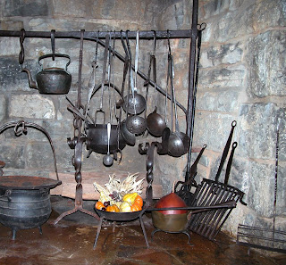contemporary makers antique fireplace and cooking utensils