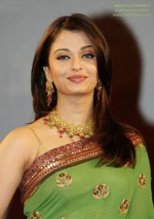 aishwarya raiin green saree