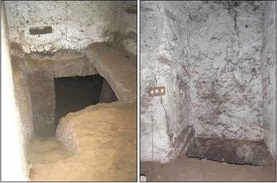 Trabajando en la tumba de acceso a las cuevas, designada como NC2