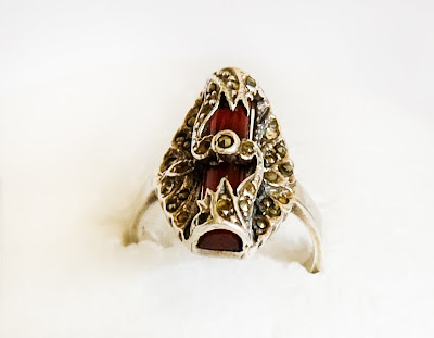 antique ring of sterling silver and carnelian