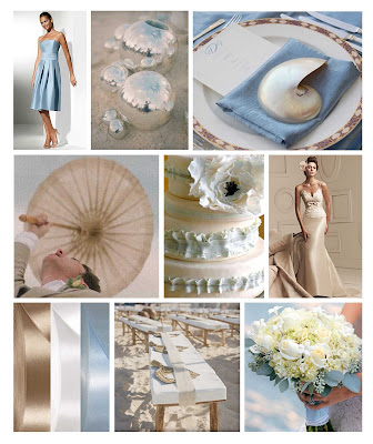 Pale Blue and Caramel