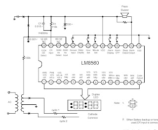 Alarm Equipped Digital Clock LM5860 circuit and