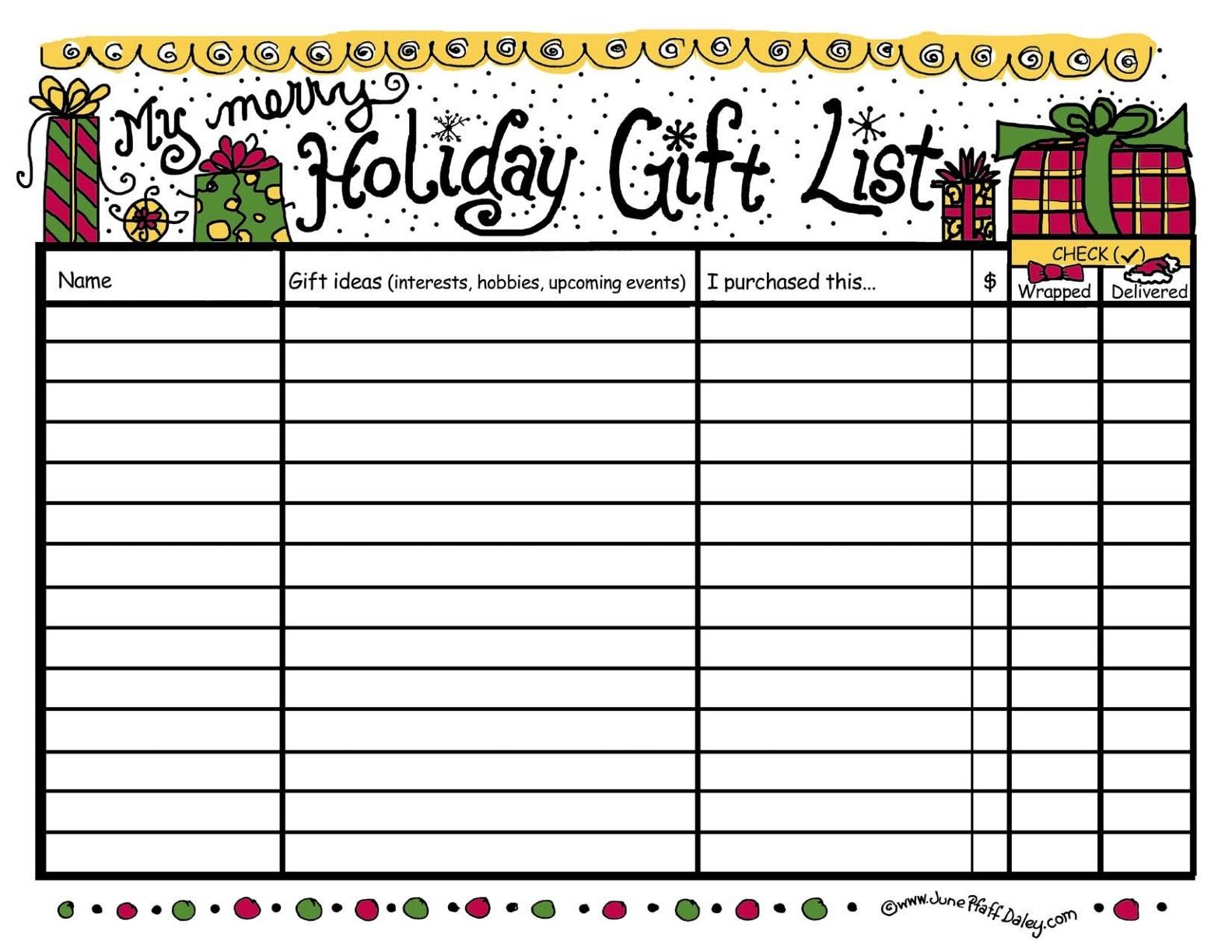 wedding gift list template sheet template haven list format – Christmas List Template