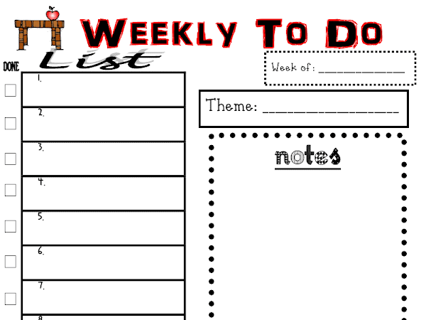 Weekly Organizing list