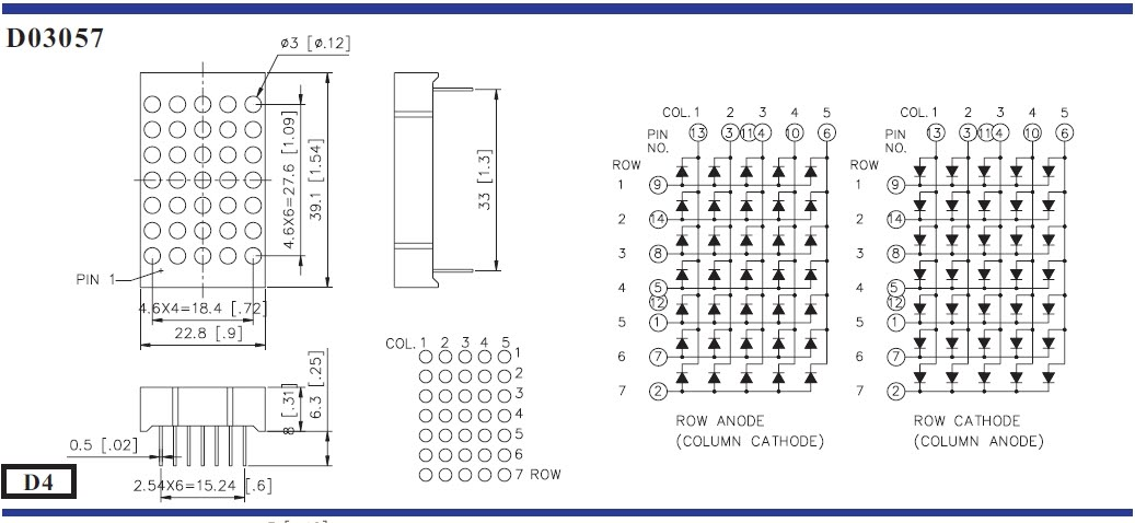 Circuit Desolator LED Dot Matrix Pin Configuration Pinouts