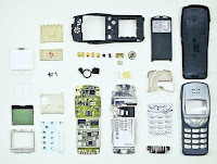 Disassembled cellphone