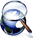 search magnifying glass earth globe