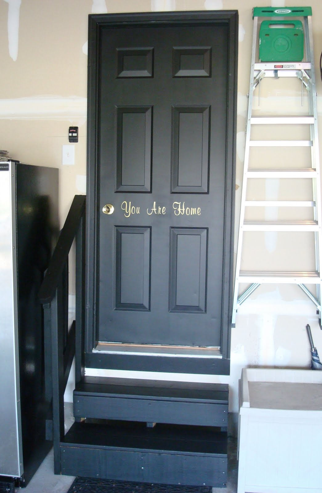 Black interior doors in the basement from thrifty decor for Basement entry ideas