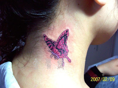 Pink and purple butterfly tattoo on the neck