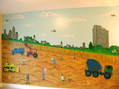 Liza bean designs playrooms for Construction site wall mural