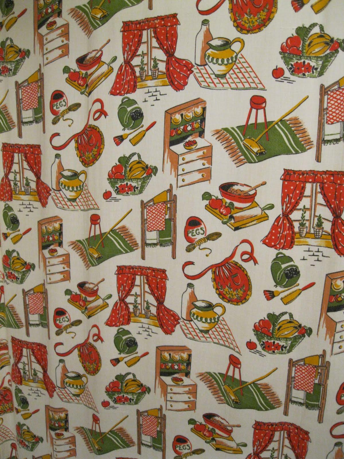 Vintage 50s Kitchen Fabric