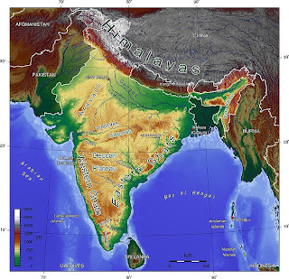 Geographic map of India