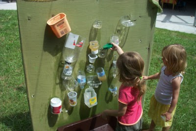 let the children play planning a new water wall for water play