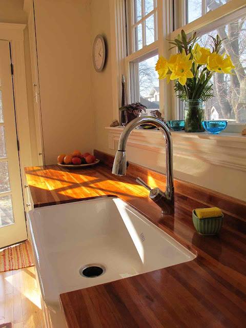 William Morris Fan Club Wooden Countertops In Kitchen