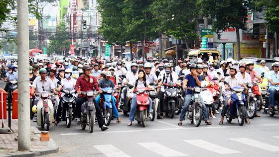 Motos en Ho Chin Mihn (Saigon) en Vietnam