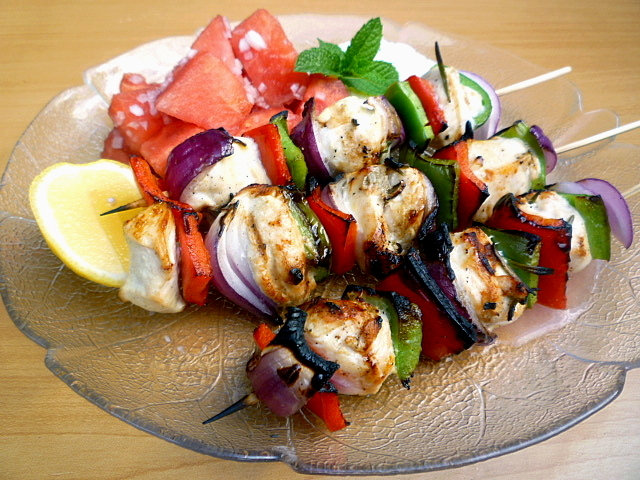 3 Hungry Tummies Chicken Skewers Watermelon Salad And Tzatziki
