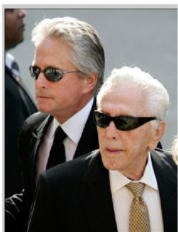 Kirk Douglas and son Michael Douglas at entertainmentnewsnevents.blogspot.com