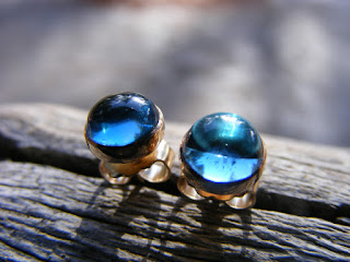 london blue topaz in gold filled studs post