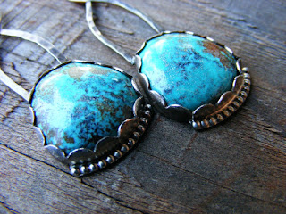 turquoise gemstone sterling silver earrings