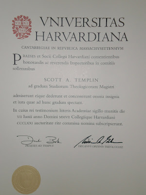 Its In Latin So I Dont Totally Know What It Says But Basically That Scott Ie Me Is A Harvard Graduate With Masters Of Theological