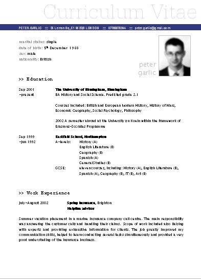 Plantillas De Curriculum Vitae En Word 2010 Descargar