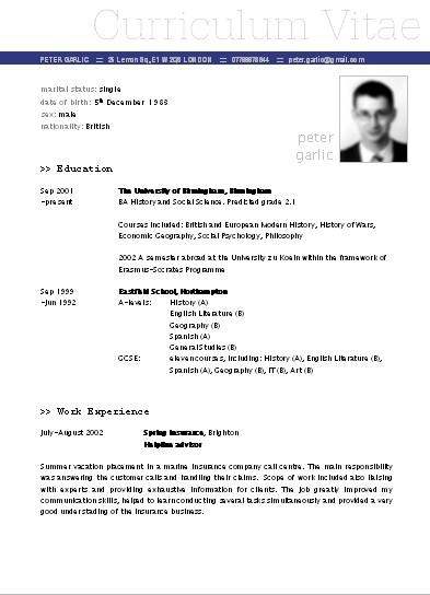 Curriculum Vitae Descargar Plantilla Word