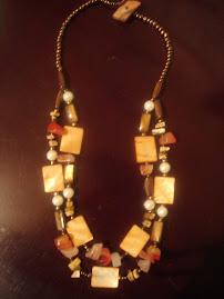 Collar doble/ágata/perlas/piedras $12.000