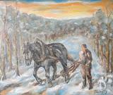 Štyri ročné obdobia s čierným koňom: zvážanie dreva - zima