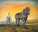Štyri ročné obdobia s čierným koňom: oranie - jeseň