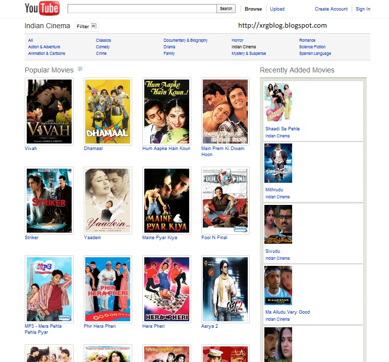 XRGBLOG: Watch Full Length Bollywood Movies on YouTube For Free
