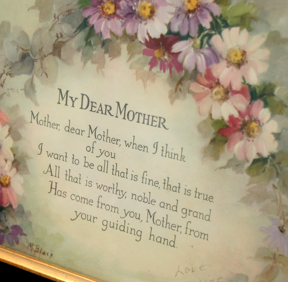 Vintage And Framed My Dear Mother Print Poem By M Black With Muted Shades