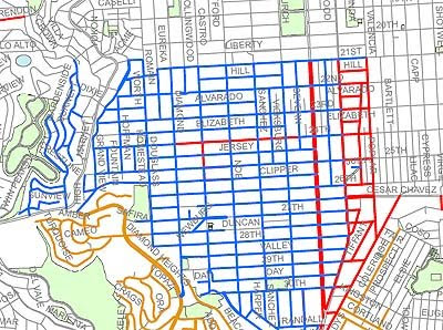 Dirtier Streets, Confusion to Ensue   Noe Valley SF on oakland street map, speed street map, ma street map, broadway street map, bay area street map, oak street map, portland street map, chicago street map, chestnut street map, nyc street map, ga street map, fl street map, miami street map, la street map, seattle street map, london street map, dc street map, ac street map, boston street map, funchal street map,