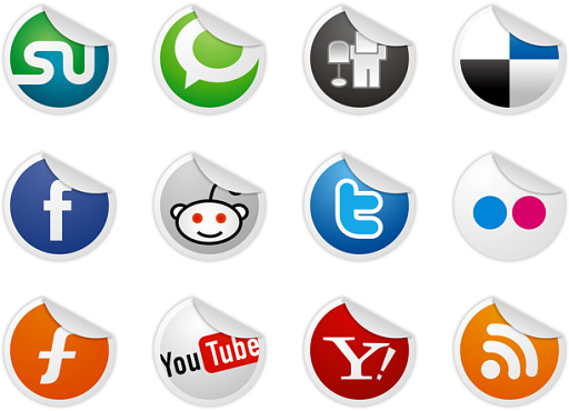 iconos sociales twitter, facebook, pinterest, linkedin, youtube en Blogger
