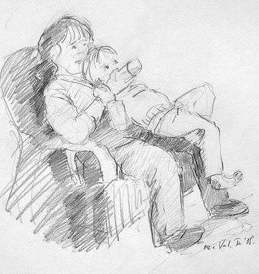 pencil drawing of bottle feeding bibi