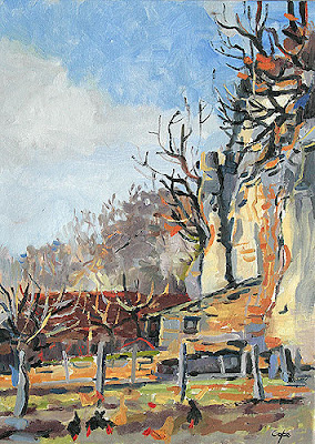 oil painting of cliffs, couze valley , gravette