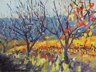 three cheries trees - red oil painting  france fauve colours