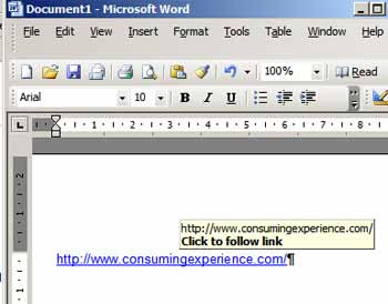 how to change a url into a hyperlink in word