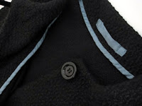 Black boiled wool handmade jacket