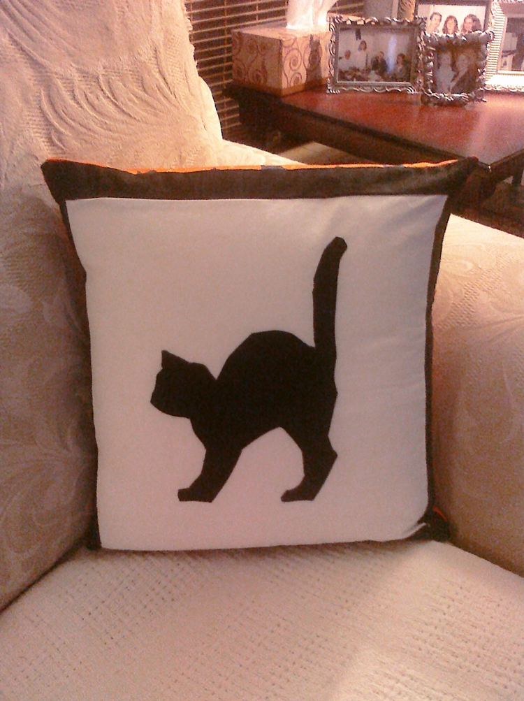 Hot Pink Peonies: Black Cat Pillow for Halloween