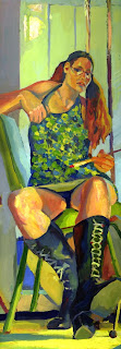 Self Portrait oil painting in black boots