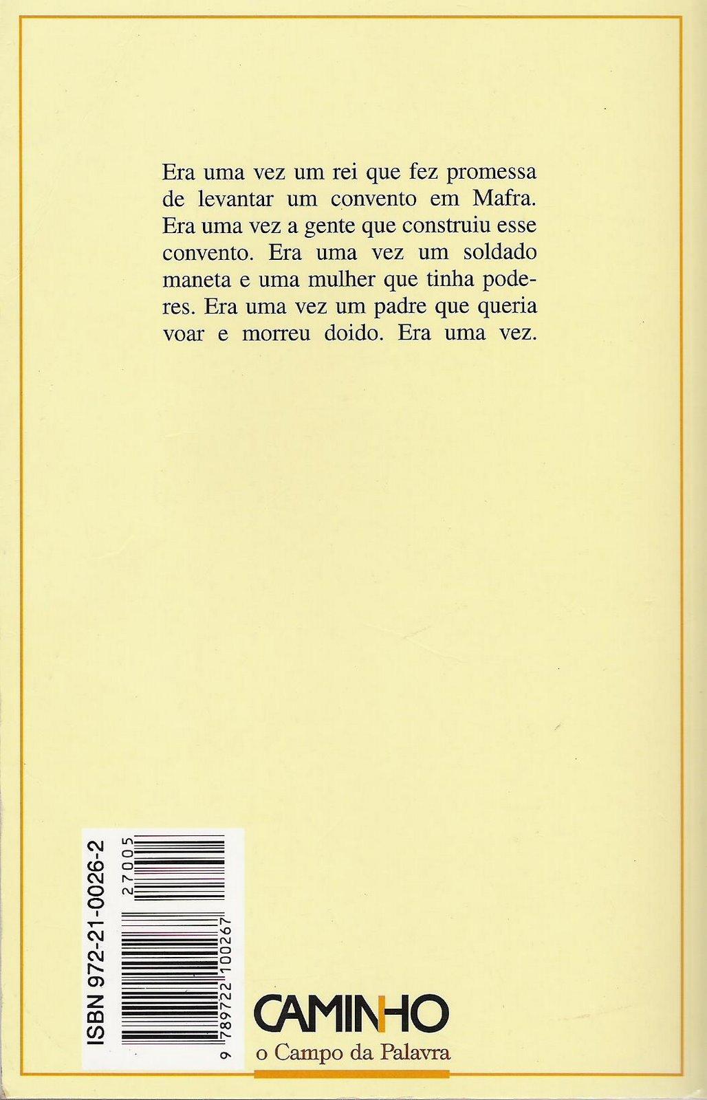 livro memorial do convento para