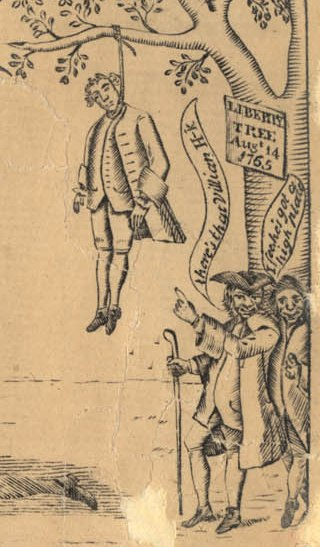 """Boston 1775: """"A Stampman Hanging On A Tree"""""""