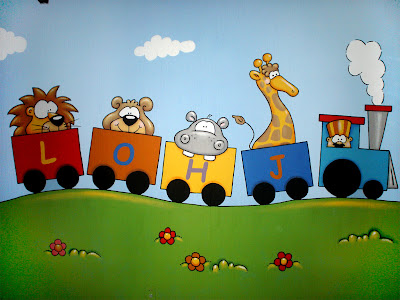 Murales en colegios aula el tren animales y letras - Pintura infantil pared ...