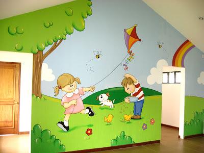 Murales en colegios aula del jardin de ni os for Como pintar un mural en una pared