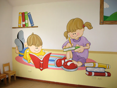 Murales en colegios biblioteca para ni os - Decorar paredes ninos ...
