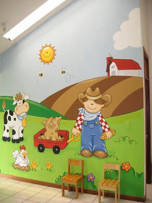 Murales en colegios aula de la granja - Mural pared infantil ...