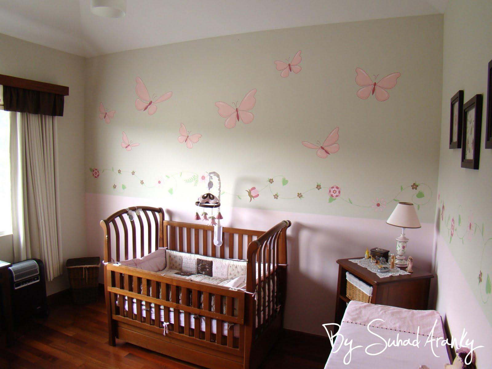 Murales en dormitorios cuarto beb flores y mariposas - Murales para habitaciones de bebes ...