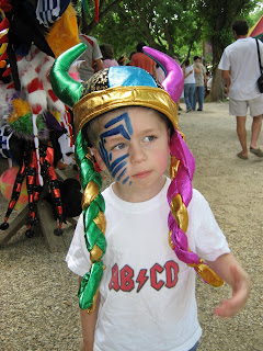 boy with colorful viking hat